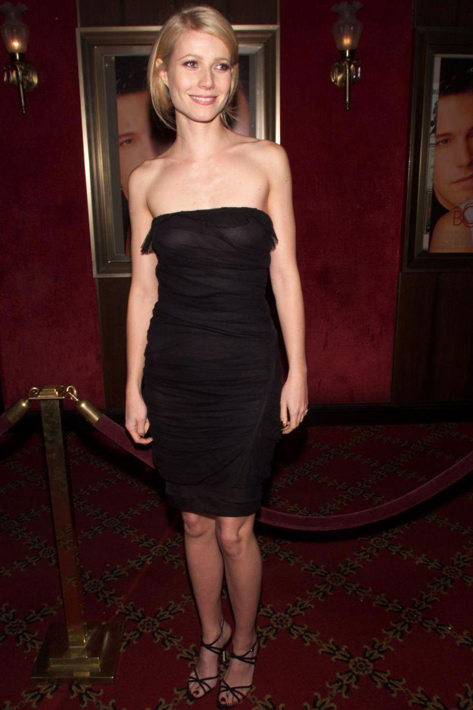 <p>Gwyneth Paltrow took the little black dress to a whole new level at the <em>Bounce </em>premiere in 2000. The starlet opted for a strapless and knee-length ruched version of the classic style.  </p>