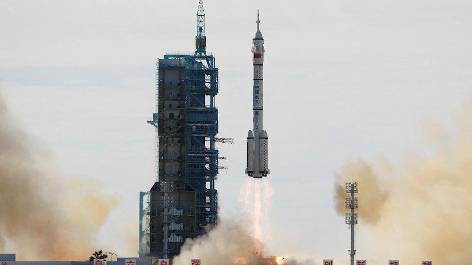 The Long March-2F Y12 rocket, carrying the Shenzhou-12 spacecraft and three astronauts, takes off from Jiuquan Satellite Launch Center for China