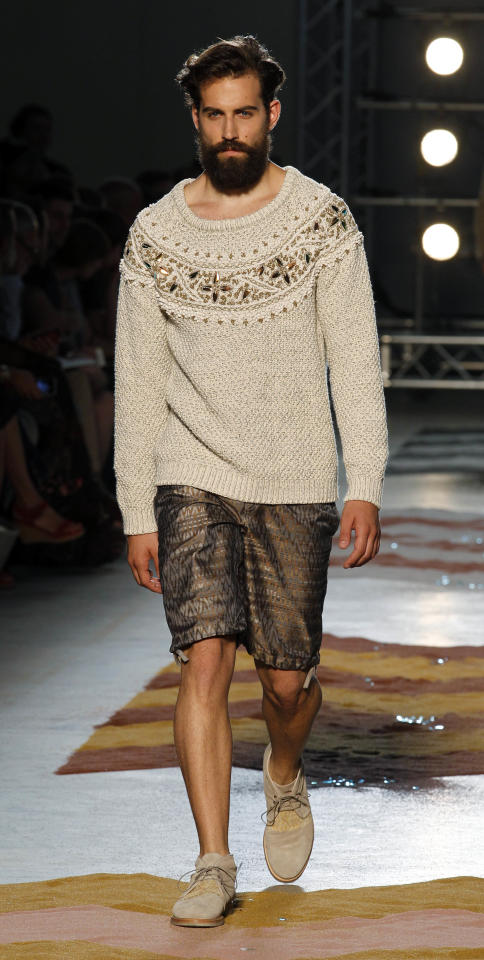 A model wears a creation of Missoni, from the men's Spring-Summer 2013 collection, part of the Milan Fashion Week, unveiled in Milan, Italy, Monday, June 25, 2012. (AP Photo/Luca Bruno)