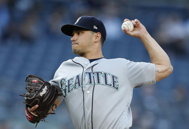 Seattle Mariners starting pitcher Marco Gonzales winds up during the first inning of the team's baseball game against the New York Yankees, Tuesday, May 7, 2019, in New York. (AP Photo/Kathy Willens)