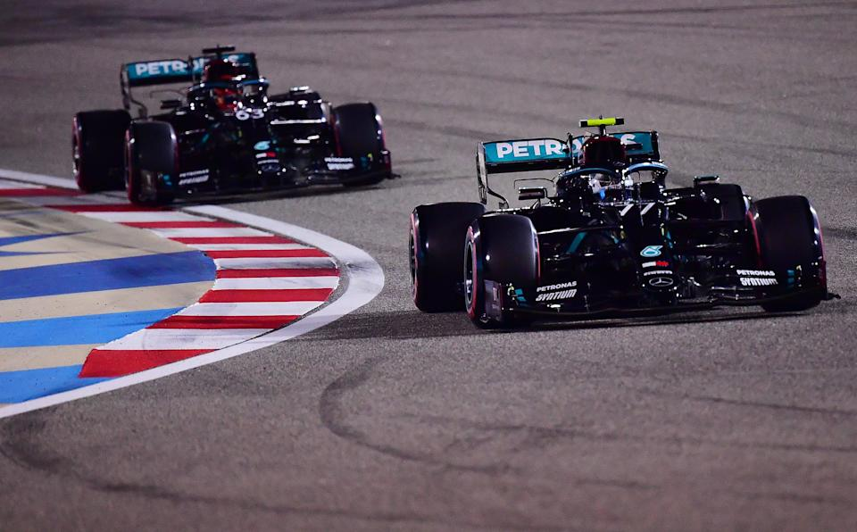Valtteri Bottas will start the Sakhir Grand Prix on pole position ahead of stand-in Mercedes teammate George Russell (Getty)