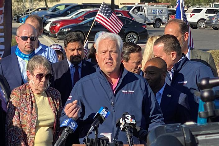Matt Schlapp, chairman of the American Conservative Union, speaks at a news conference in Las Vegas about the Trump campaign's election-related lawsuits.