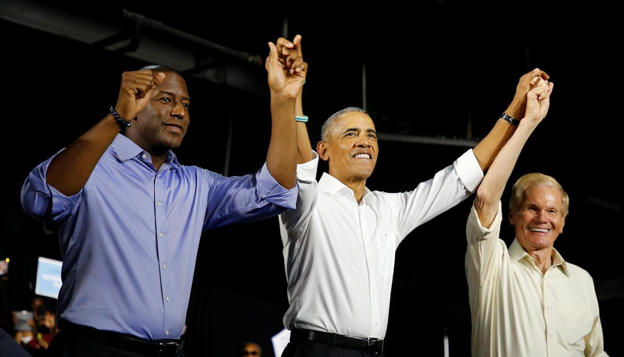 Barack Obama with Andrew Gillum, left, and Bill Nelson in Miami on Friday. (Photo: Joe Skipper/Reuters)