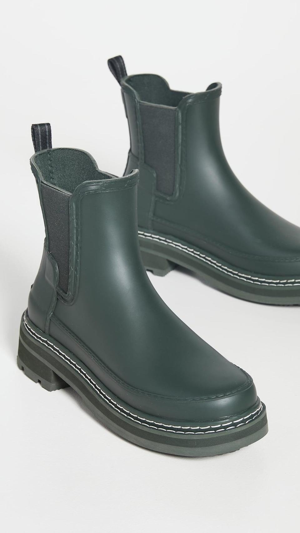 <p>Rainy days are perfect for these <span>Hunter Boots Refined Stitch Chelsea Boots</span> ($185). The classic boot in an updated silhouette and shade is all we need.</p>