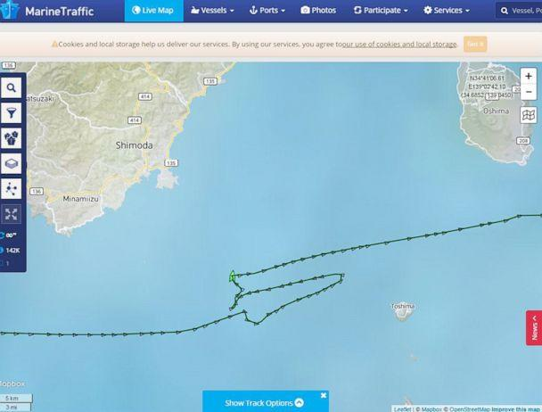 PHOTO: A screenshot provided by vessel-tracking service MarineTraffic shows the route of the container ship ACX Crystal that collided with the USS Fitzgerald in the waters southwest of Tokyo, June 16, 2017, killing seven U.S. sailors. (MarineTraffic via AP)