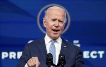 U.S. president-elect Joe Biden speaks in Wilmington, Delaware