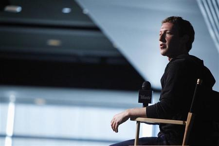 Zuckerberg sits for audience questions in an onstage interview for the Atlantic Magazine in Washington