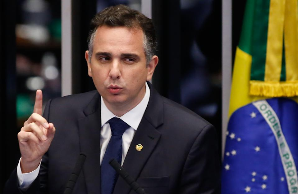Senator Rodrigo Pacheco speaks during the senate session to elect the president of the Senate, in Brasilia, on February 1, 2021. - Congress votes in head of house and senators in elections deemed crucial to determine Brazilian president Jair Bolsonaro's reach in upcoming years. (Photo by Sergio LIMA / AFP) (Photo by SERGIO LIMA/AFP via Getty Images)