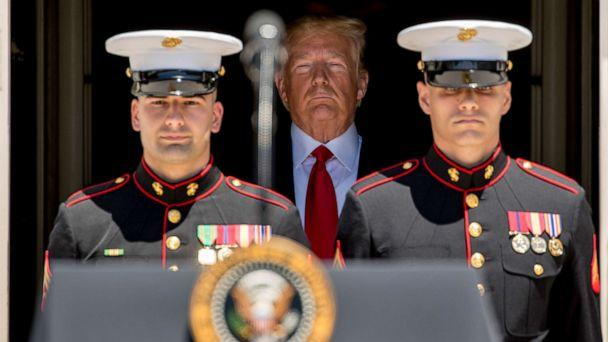 PHOTO: President Donald Trump arrives at a Made in America showcase on the South Lawn of the White House in Washington, July 15, 2019. (Andrew Harnik/AP)
