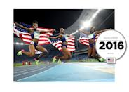 At the 2016 Summer Olympics in Rio, the US team swept the 100m hurdles event — winning gold, silver, and bronze medals — in matching outfits; including colorful shoes in electric green, yellow, and pink. (Getty Images)