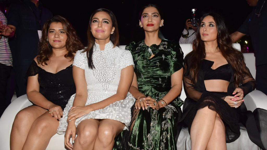 <p>In Pics: The 'Veere Di Wedding' girls stun at the music launch of the film </p>