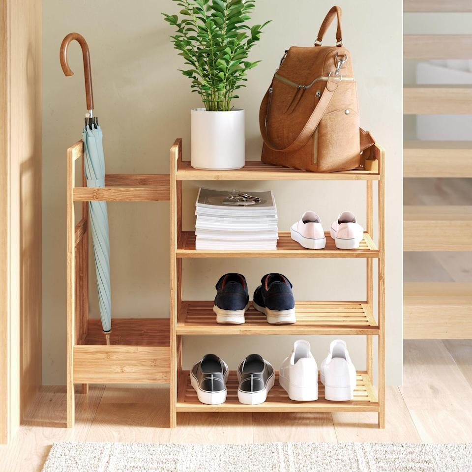 """<h2>Dotted Line Bamboo Entryway 8 Pair Shoe Rack</h2><br><strong>Deal: 47% off</strong><br>We didn't do too much adventuring last year, so we needed a simple and easy way to put away all of our shoes. Say hello to this bamboo rack that will organize your belongings without becoming an eyesore in your entryway.<br><br><em>Shop</em> <strong><em><a href=""""https://www.wayfair.com/brand/bnd/dotted-line-b52372.html"""" rel=""""nofollow noopener"""" target=""""_blank"""" data-ylk=""""slk:Dotted Line"""" class=""""link rapid-noclick-resp"""">Dotted Line</a></em></strong><br><br><br><br><strong>Dotted Line</strong> Bamboo Entryway 8 Pair Shoe Rack, $, available at <a href=""""https://go.skimresources.com/?id=30283X879131&url=https%3A%2F%2Fwww.wayfair.com%2Fstorage-organization%2Fpdp%2Fdotted-line-bamboo-entryway-8-pair-shoe-rack-w001991740.html"""" rel=""""nofollow noopener"""" target=""""_blank"""" data-ylk=""""slk:Wayfair"""" class=""""link rapid-noclick-resp"""">Wayfair</a>"""