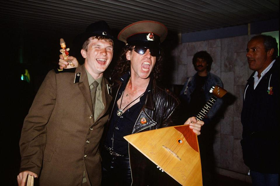 <p>A USSR soldier and Kaus Meine of the Scorpions backstage at the Moscow Music Peace Festival in 1989.</p>