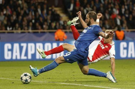 Juventus' Gonzalo Higuain scores their second goal