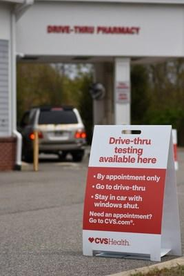 A COVID-19 testing site at a nearby CVS Pharmacy drive-thru, part of the company's plans to operate up to 1,000 test sites around the country by the end of May.