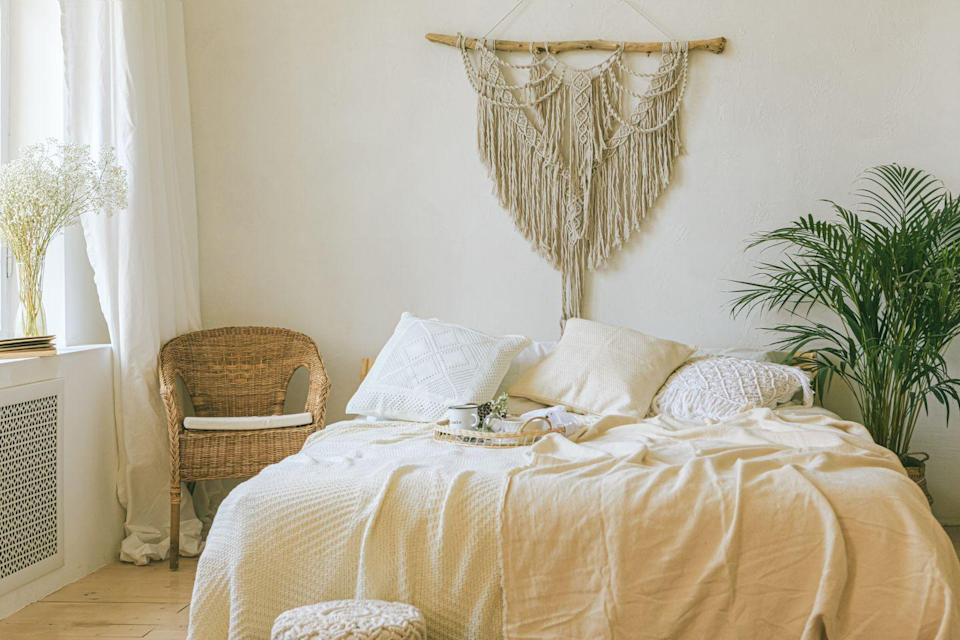 """<p>Your bedroom should be your safe haven, or at least a place where you feel like you can recharge. Decorate the space so that it encourages rest, <a href=""""https://www.womansday.com/health-fitness/wellness/g1875/how-to-get-your-best-nights-sleep-ever/"""" rel=""""nofollow noopener"""" target=""""_blank"""" data-ylk=""""slk:sleep"""" class=""""link rapid-noclick-resp"""">sleep</a>, and a feeling of happiness. </p><p>""""Dreamy artwork, soft linens, and pillows can give you a comforting, romantic feel and encourage restful sleep,"""" interior designer <a href=""""https://wendykleiner.com/"""" rel=""""nofollow noopener"""" target=""""_blank"""" data-ylk=""""slk:Wendy Kleiner"""" class=""""link rapid-noclick-resp"""">Wendy Kleiner</a> tells Woman's Day. """"Keep the underneath of your bed free from storage and clutter as well."""" She also warns against working in your bedroom, especially if you <a href=""""https://www.womansday.com/life/work-money/g32074053/work-from-home-memes/"""" rel=""""nofollow noopener"""" target=""""_blank"""" data-ylk=""""slk:work from home"""" class=""""link rapid-noclick-resp"""">work from home</a>. <br></p>"""