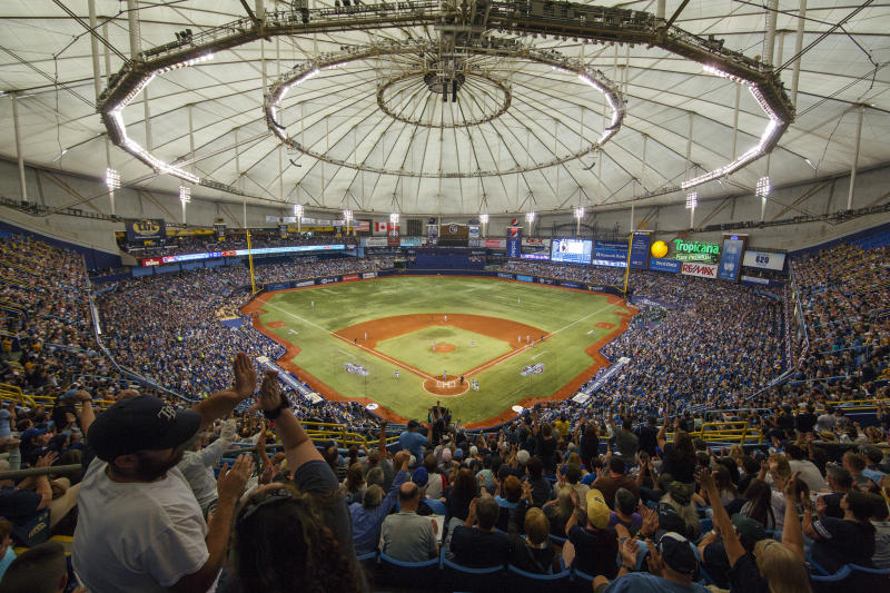 The Rays will stay at Tropicana Field full time as negotiations to split their season with Montreal have broken off. (Photo by Mike Carlson/MLB via Getty Images)