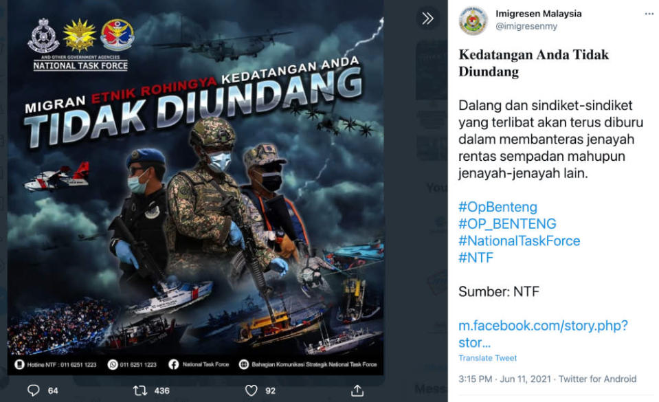 A screencap of the poster taken from the Immigration Department's Facebook page. The original post was uploaded onto the official Facebook page of the National Task Force (NTF), a multi-agency unit tasked with enforcing the country's closed borders amid the Covid-19 pandemic.