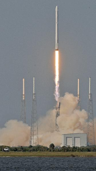 The Dragon blasted off on Friday from Cape Canaveral, Florida, atop a Falcon 9 rocket (AFP Photo/Bruce Weaver)
