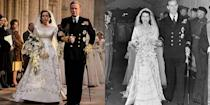 """<p>Not everything about Princess Elizabeth's wedding dress was the same. Her ivory satin dress had slightly different embroidery on the show and her lace-trimmed neckline was replaced with encrusted pearls, sequins and diamonds. But don't think the show took the recreation of the iconic dress lightly: It took seven weeks to make and <a href=""""https://www.harpersbazaar.com/culture/film-tv/news/a18688/the-crown-queen-elizabeth-wedding-dress-replica-cost-30-thousand/"""" rel=""""nofollow noopener"""" target=""""_blank"""" data-ylk=""""slk:cost about $37,000"""" class=""""link rapid-noclick-resp"""">cost about $37,000</a>.</p>"""