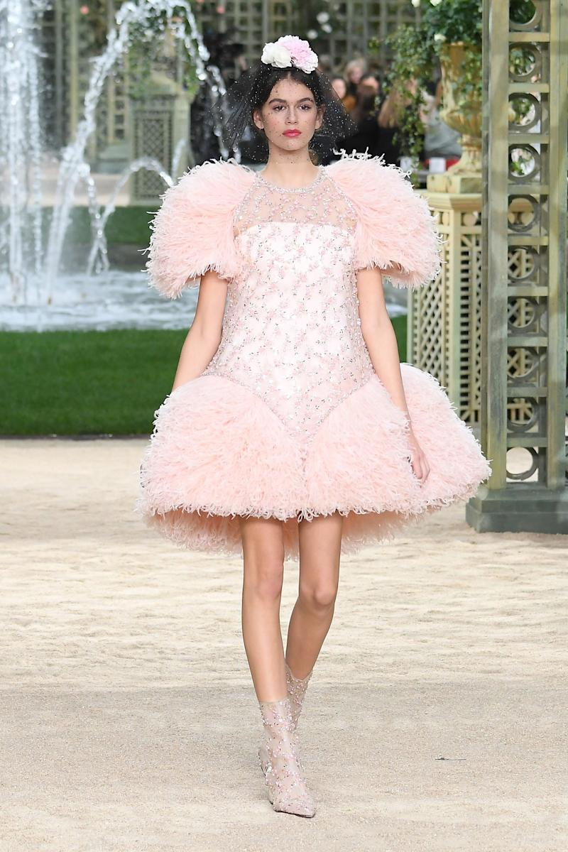 Kaia Gerber walks the runway during the Chanel Haute Couture Spring Summer 2018 show as part of Paris Fashion Week on January 23, 2018 in Paris, France. (Photo by Dominique Charriau/WireImage)
