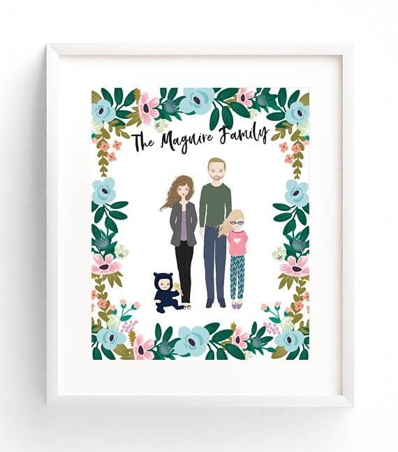 """<p>Track the growth of her family with an amazing <a href=""""https://www.popsugar.com/buy/Custom-Illustration-346431?p_name=Custom%20Illustration&retailer=etsy.com&pid=346431&price=43&evar1=moms%3Aus&evar9=25779805&evar98=https%3A%2F%2Fwww.popsugar.com%2Fphoto-gallery%2F25779805%2Fimage%2F36247285%2FFamily-Portrait-Illustration&list1=shopping%2Choliday%2Cgift%20guide%2Cpregnancy%2Cmom%20shopping%2Choliday%20living%2Choliday%20for%20kids%2Csyndicate%2Cgifts%20for%20women&prop13=api&pdata=1"""" rel=""""nofollow"""" data-shoppable-link=""""1"""" target=""""_blank"""" class=""""ga-track"""" data-ga-category=""""Related"""" data-ga-label=""""https://www.etsy.com/listing/600757764/family-portrait-illustration-custom?ref=shop_home_active_48"""" data-ga-action=""""In-Line Links"""">Custom Illustration</a> ($43 and up).</p>"""