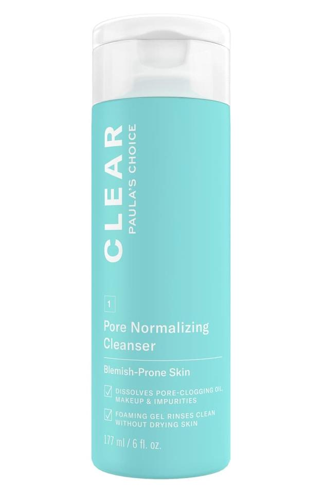 """<p>The 0.5 percent salicylic acid within the formula of the <a href=""""https://www.popsugar.com/buy/Paula%27s%20Choice%20Clear%20Pore%20Normalizing%20Cleanser-466943?p_name=Paula%27s%20Choice%20Clear%20Pore%20Normalizing%20Cleanser&retailer=shop.nordstrom.com&price=13&evar1=bella%3Aus&evar9=46391454&evar98=https%3A%2F%2Fwww.popsugar.com%2Fbeauty%2Fphoto-gallery%2F46391454%2Fimage%2F46391494%2FPaula-Choice-Clear-Pore-Normalizing-Cleanser&list1=beauty%20products%2Cacne%2Cbeauty%20review%2Cskin%20care&prop13=api&pdata=1"""" rel=""""nofollow"""" data-shoppable-link=""""1"""" target=""""_blank"""" class=""""ga-track"""" data-ga-category=""""Related"""" data-ga-label=""""https://shop.nordstrom.com/s/paulas-choice-clear-pore-normalizing-cleanser/4684452?origin=keywordsearch-personalizedsort&amp;color=none"""" data-ga-action=""""In-Line Links"""">Paula's Choice Clear Pore Normalizing Cleanser</a> ($13) dissolves grime and buildup on my skin without being too drying or irritating. While the percentage might seem minimal, I've found that smaller amounts of active ingredients can frequently give me better results than their powerful counterparts. </p>"""