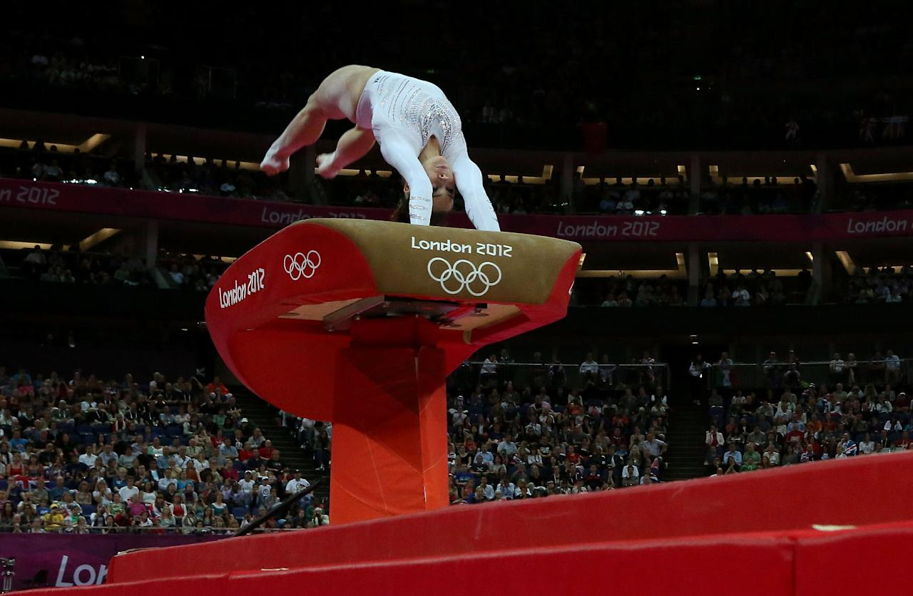 McKayla Maroney of United States competes on the vault during the Artistic Gymnastics Women's Vault final on Day 9 of the London 2012 Olympic Games at North Greenwich Arena on August 5, 2012 in London, England.  (Photo by Ronald Martinez/Getty Images)