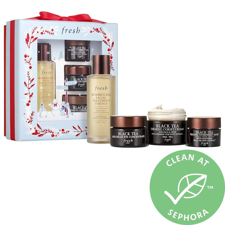 "<h3>Fresh Black Tea Firming Skincare Set</h3> <br> If you're serious about skin care, then this is the kit for you. It includes full-sizes of Fresh's beloved black tea toner and eye cream, in addition to minis of the firming moisturizer and overnight mask. <br> <br> <strong>Fresh</strong> Black Tea Firming Skincare Set, $, available at <a href=""https://go.skimresources.com/?id=30283X879131&amp;url=https%3A%2F%2Fwww.sephora.com%2Fproduct%2Ffresh-kombucha-facial-treatment-set-P462693%3F"" rel=""nofollow noopener"" target=""_blank"" data-ylk=""slk:Sephora"" class=""link rapid-noclick-resp"">Sephora</a>"