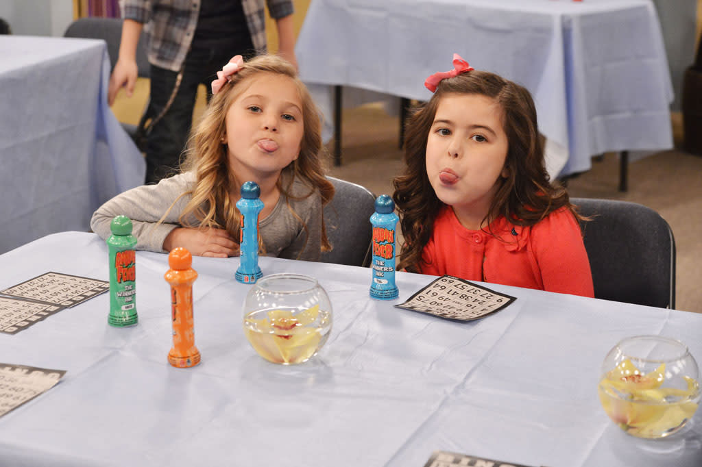 "Ruby (Rosie McClelland) adn Gwen (Sophia Grace Brownlee) in the ""Sam & Cat"" episode, ""#TheBritBrats."""