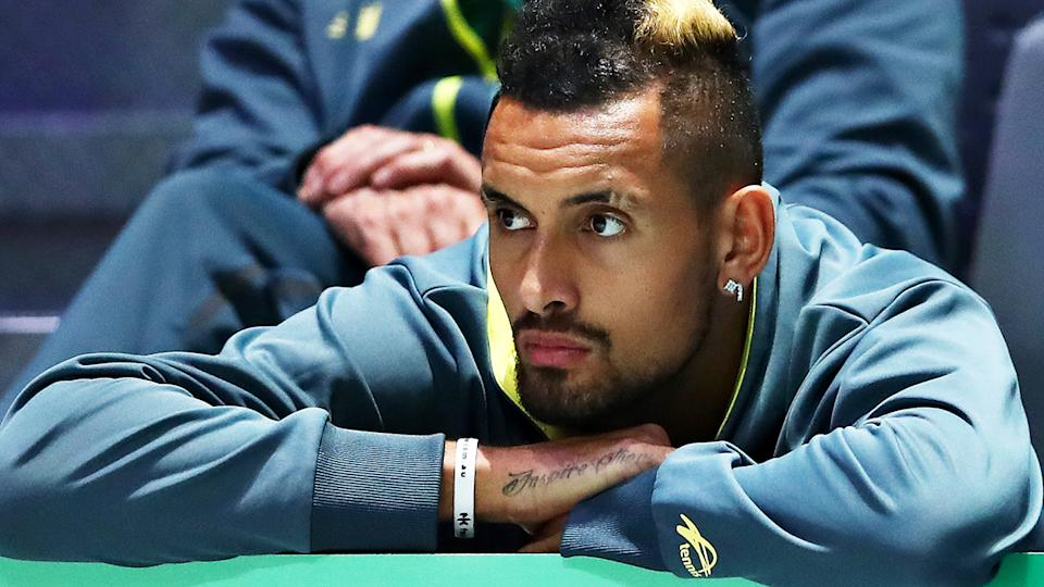Nick Kyrgios, pictured, missed Australia's Davis Cup loss due to injury.