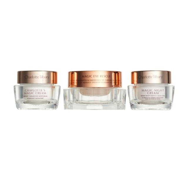 "<p>There is a reason beauty gurus, high-fashion models, and celebrities rave about Charlotte's Magic Cream <span>—</span> it really feels like a treat on your skin. With this one-of-kind trio deal, you get a mini mashup of the amazing cream, the Magic Night Rescue Cream, and the Magic Eye Rescue. It's a $135 value, so a smooth $75 sounds heavenly right about now. ($75, <a href=""http://shop.nordstrom.com/s/charlotte-tilbury-the-gift-of-magic-skin-mini-skin-care-set-135-value/4626479?origin=category-personalizedsort"" rel=""nofollow noopener"" target=""_blank"" data-ylk=""slk:nordstrom.com"" class=""link rapid-noclick-resp"">nordstrom.com</a>) </p>"