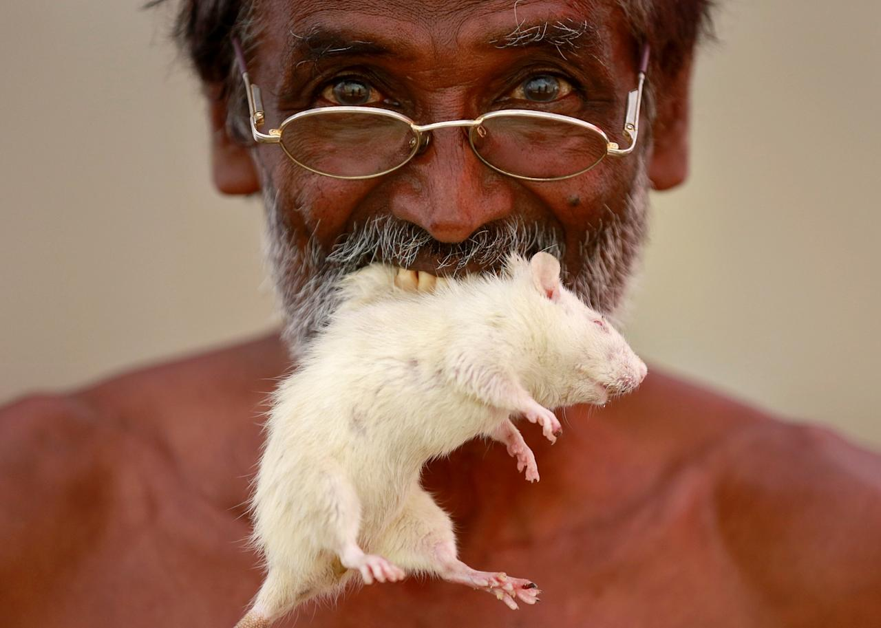<p>A farmer from the southern state of Tamil Nadu poses as he bites a rat during a protest demanding a drought-relief package from the federal government, in New Delhi, India March 27, 2017. REUTERS/Cathal McNaughton </p>