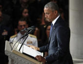 Former President Barack Obama pauses as he speaks at a memorial service for Sen. John McCain, R-Ariz., at Washington National Cathedral in Washington, Saturday, Sept. 1, 2018. McCain died Aug. 25, from brain cancer at age 81. (AP Photo/Pablo Martinez Monsivais)