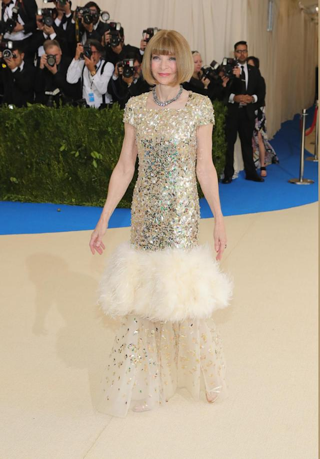 "<p><em>Vogue's</em> Anna Wintour arrived at the 2017 Met Gala wearing a custom Chanel dress by Karl Lagerfeld. The sequined gown was inspired by the label's spring 2017 Haute Couture collection, according to <a href=""http://www.vogue.com/article/met-gala-2017-live-blog-fashion-celebrity-arrivals?mbid=social_twitter"" rel=""nofollow noopener"" target=""_blank"" data-ylk=""slk:Vogue Runway"" class=""link rapid-noclick-resp"">Vogue Runway</a>. (Photo by Neilson Barnard/Getty Images) </p>"