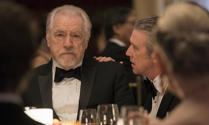 Brian Cox as flawed demigod Logan Roy and Alan Ruck as delusional son Connor in Succession.