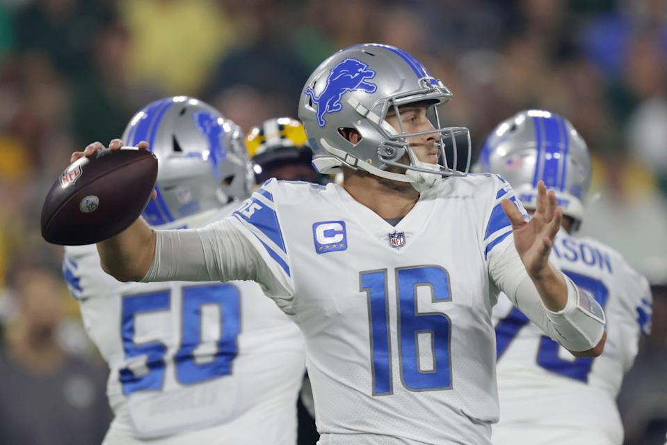 Lions quarterback Jared Goff throws during the first half on Monday, Sept. 20, 2021, in Green Bay, Wisconsin.
