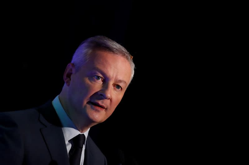 French Finance Minister Bruno Le Maire attends a news conference in Boulogne-Billancourt