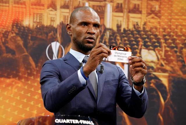 Soccer Football - Europa League Quarter-Final Draw - Nyon, Switzerland - March 16, 2018 Eric Abidal draws Marseille REUTERS/Pierre Albouy