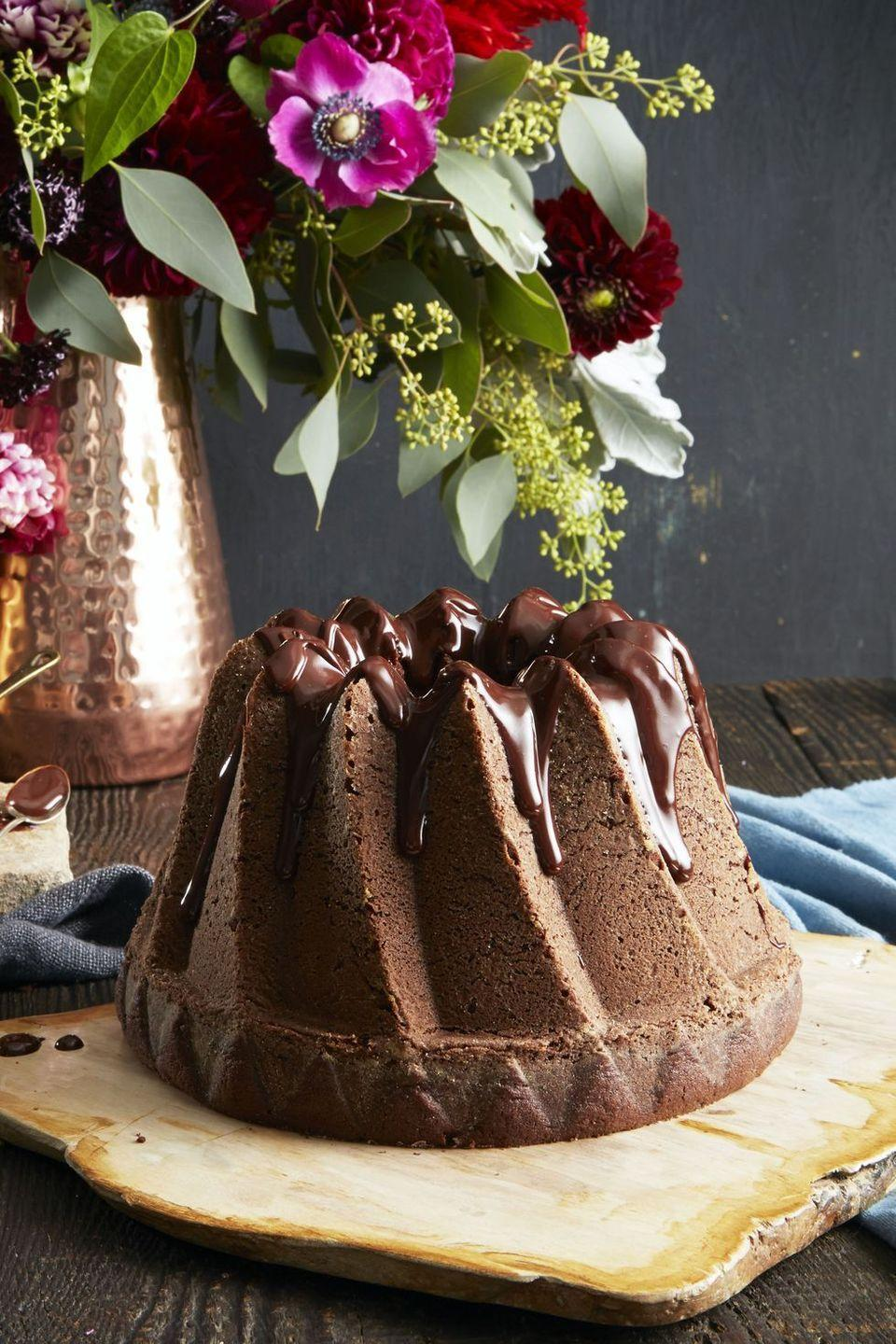 """<p>For when a single chocolate cake just isn't enough. The """"double chocolate"""" in this recipe refers to the bittersweet and creamy coffee and chocolate glaze on top of this airy chocolate cake.</p><p><em><a href=""""https://www.goodhousekeeping.com/food-recipes/dessert/a35180/double-chocolate-bundt/"""" rel=""""nofollow noopener"""" target=""""_blank"""" data-ylk=""""slk:Get the recipe for Double Chocolate Bundt »"""" class=""""link rapid-noclick-resp"""">Get the recipe for Double Chocolate Bundt » </a></em></p>"""