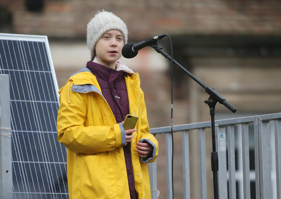 Environmental activist Greta Thunberg speaks at the Bristol Youth Strike 4 Climate protest at College Green in Bristol. Picture date: Friday February 28, 2020. Photo credit should read: EMPICS/EMPICS Entertainment