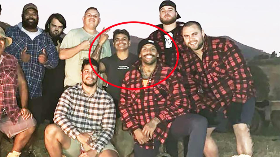 A social media image shows Latrell Mitchell and Josh Addo-Carr on a camping trip.