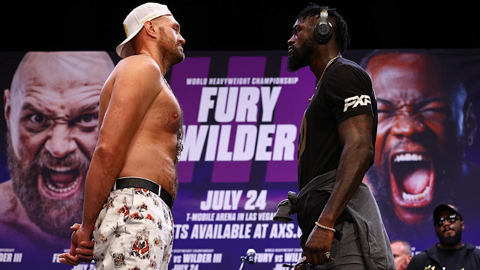 Tyson Fury and Deontay Wilder's highly anticipated face-off left many boxing fans disappointed, after the pair barely engaged with one another. (Photo by Mikey Williams/Top Rank Inc/Getty Images)