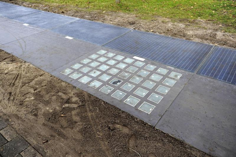 The SolaRoad, the first road in the world made of solar panels, is launched in Krommenie, the Netherlands, on November 12, 2014