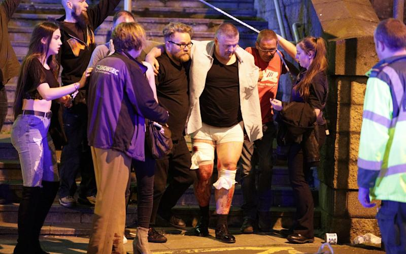 Pictures of injured concert-goers outside Manchester Arena - Credit: Joel Goodman/LNP