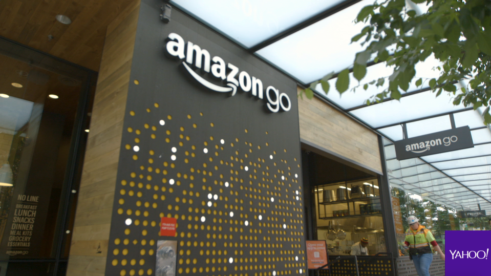 The Amazon Go storefront in Seattle, Washington. The location itself measures roughly 1,800 square feet.