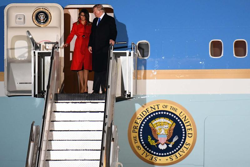 Donald Trump and First lady Melania Trump prepare to embark from Air Force One as they arrive at Stansted Airport (Getty Images)