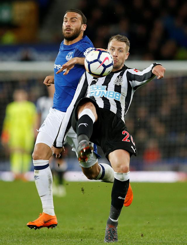 "Soccer Football - Premier League - Everton v Newcastle United - Goodison Park, Liverpool, Britain - April 23, 2018 Newcastle United's Florian Lejeune in action with Everton's Cenk Tosun REUTERS/Andrew Yates EDITORIAL USE ONLY. No use with unauthorized audio, video, data, fixture lists, club/league logos or ""live"" services. Online in-match use limited to 75 images, no video emulation. No use in betting, games or single club/league/player publications. Please contact your account representative for further details."