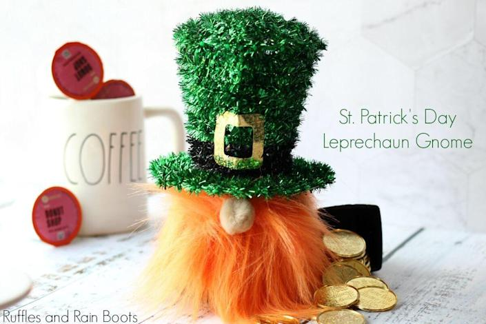 """<p>This no-sew sock gnome is <em>almost</em> as easy to make as is it adorable.</p><p><strong>Get the tutorial at <a href=""""https://rufflesandrainboots.com/leprechaun-gnome-sock-st-patricks/"""" rel=""""nofollow noopener"""" target=""""_blank"""" data-ylk=""""slk:Ruffles and Rain Boots"""" class=""""link rapid-noclick-resp"""">Ruffles and Rain Boots</a>.</strong></p><p><a class=""""link rapid-noclick-resp"""" href=""""https://go.redirectingat.com?id=74968X1596630&url=https%3A%2F%2Fwww.walmart.com%2Fsearch%2F%3Fquery%3Dorange%2Bcraft%2Bfur&sref=https%3A%2F%2Fwww.thepioneerwoman.com%2Fhome-lifestyle%2Fcrafts-diy%2Fg34931626%2Fst-patricks-day-decorations%2F"""" rel=""""nofollow noopener"""" target=""""_blank"""" data-ylk=""""slk:SHOP ORANGE CRAFT FUR"""">SHOP ORANGE CRAFT FUR</a><br></p>"""