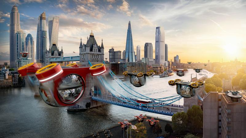 Drone-style air taxis and buses will transport people across cities and the daily commute will take place in the sky, a report from Samsung has predicted (Picture: PA)